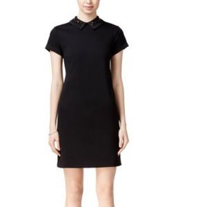 Black collar mini dress